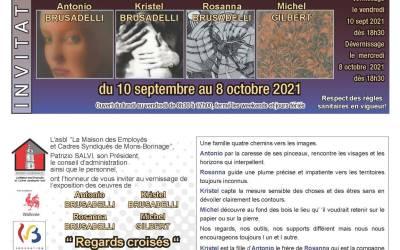 """Exposition """" Regards Croisés"""" à la Maison des Employés et Cadres Syndiqués Rue Chisaire Mons"""