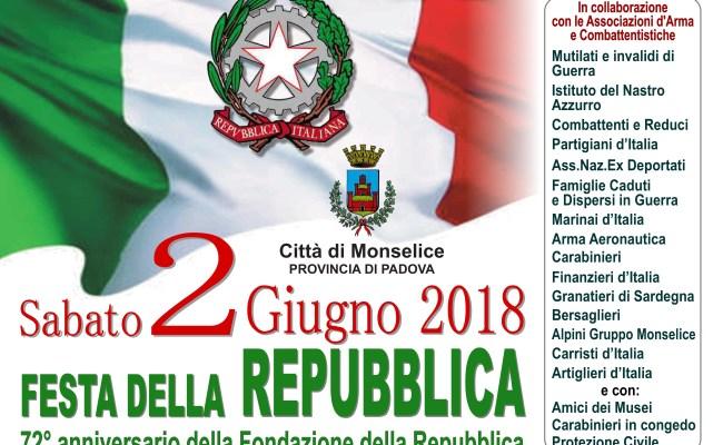 2 Giugno 2018 Festa Della Repubblica Monselice Org