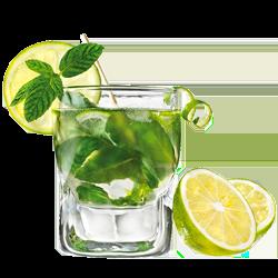 mojito composé de glaçe pilée de menthe fraiche, de citrons verts, dans un verre monsieur glaçons