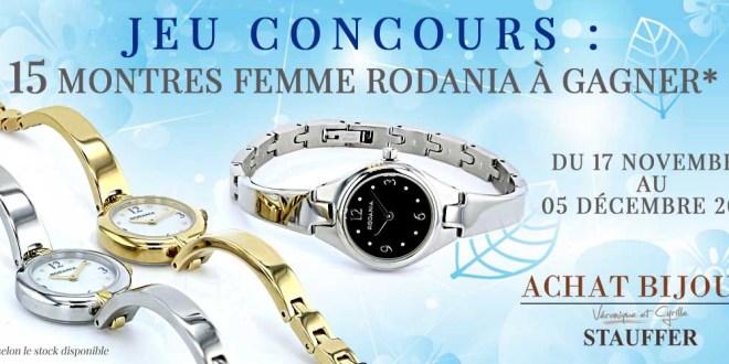 Jeu Concours Achat bijoux 15 montres femme Rodania à gagner