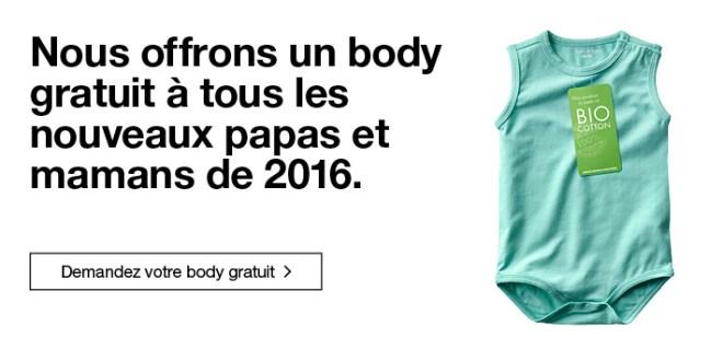 Body Gratuit pour tous bébés nés en 2016 !