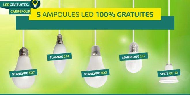 5 Ampoules LED Carrefour Gratuites Offertes par Carfuel