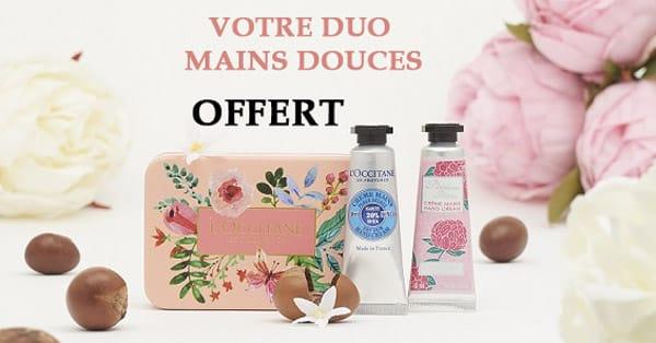 Duo Mains Douces Gratuit sur simple visite en boutique L'Occitane