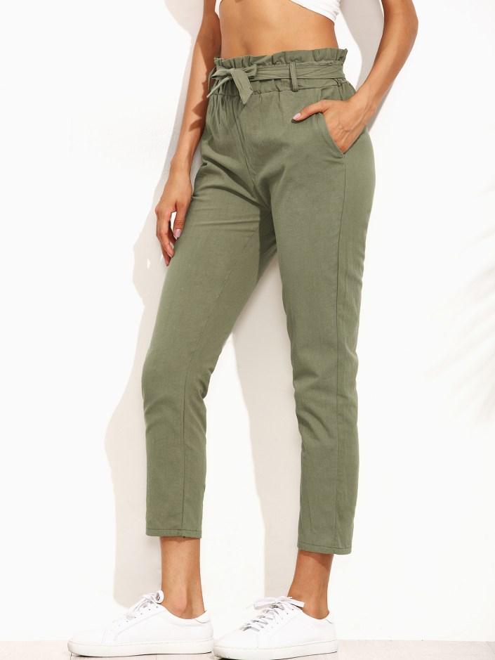 Pantalon taille plissée kaki Shein SOLDES