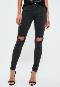 jean-skinny-noir-trou-aux-genoux-anarchy
