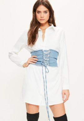 robe-chemise-blanche-dtail-corset-en-denim