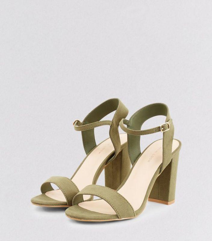 Sandales en suédine kaki New Look