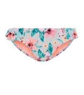 bas-de-bikini-bleu-taille-basse-à-volants-et-imprimé-tropical