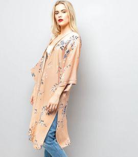 kimono-long-rose-à-imprimé-floral-et-manches-3-4-