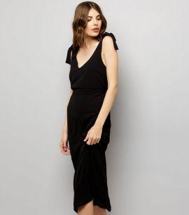 robe-mi-longue-avec-nœud-sur-les-bretelles-