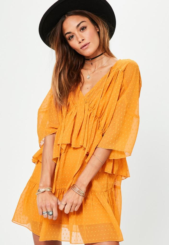 Robe jaune fluide à froufrous MissGuided