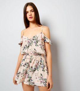 white-floral-print-cold-shoulder-playsuit-