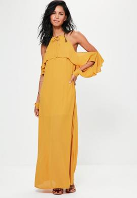 robe-longue-jaune--manches-volantes