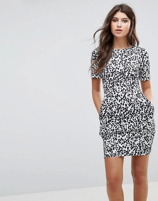 Robe fourreau imprimé léopard