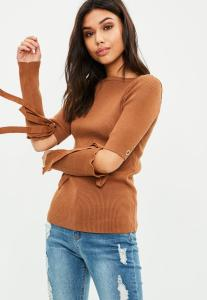 pull-fin-marron--manches-noues