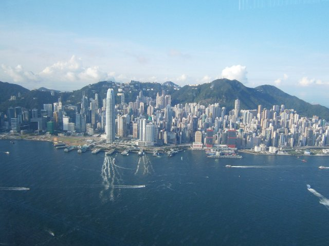 Hong Kong from high up. View from the 113th Floor of the International Commerce Center in Kowloon