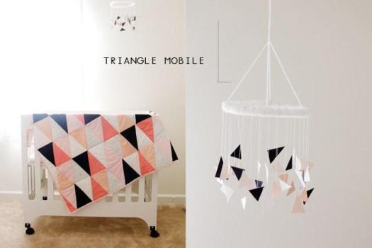 movil bebe triangulos handmade
