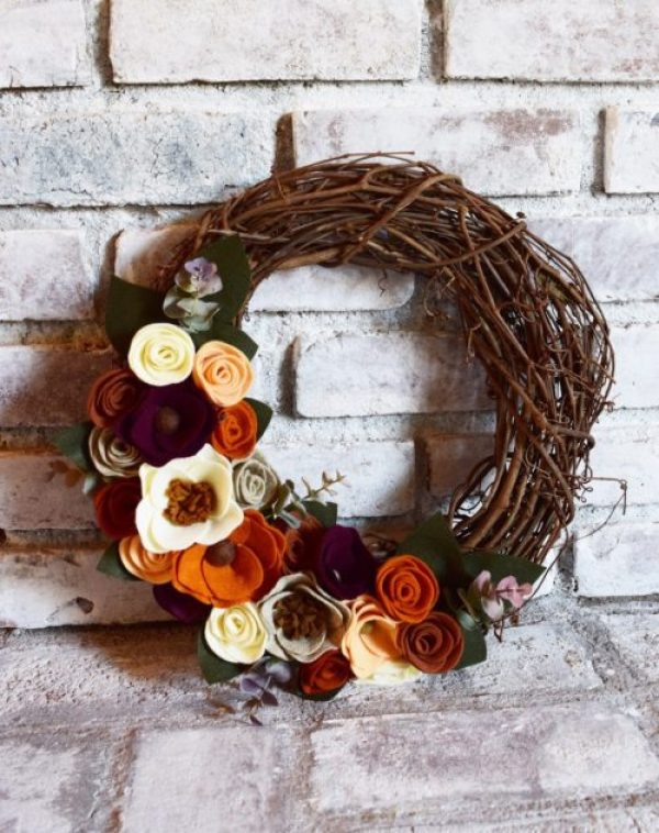 corona fieltro otoño decoracion - fall felt wreath decoration