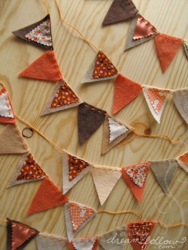 guirnalda hojas fieltro decoracion otoño halloween - felt leaf garland autumn fall decoration