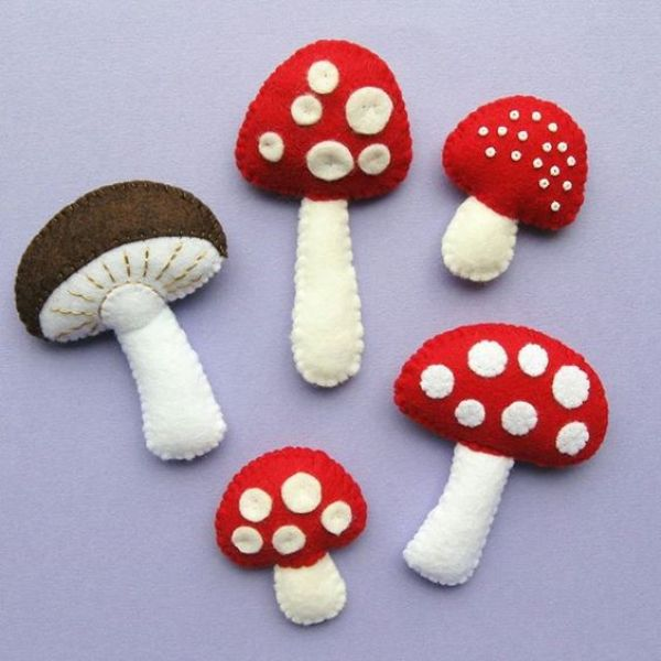 setas fieltro decoracion otoño halloween - felt mushroom autumn fall decoration