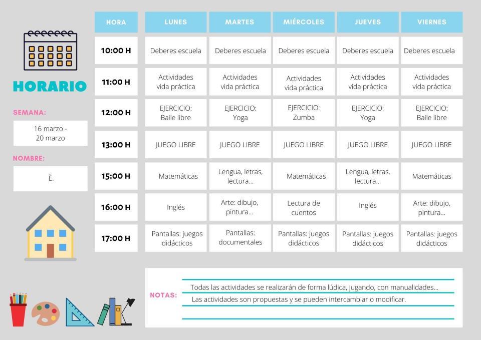 Propuesta horario YoMeQuedoEnCasa por Coronavirus para los niños