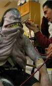 Airbrushing the creature.