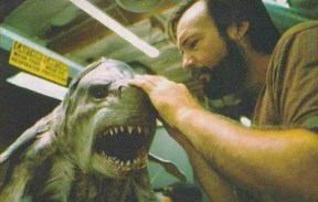 Richard Landon adjusts the eye mechanisms of the animatronic head.
