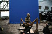 Skitter filmed in front of a blue screen.