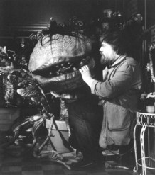 Lyle Conway checks Audrey II.
