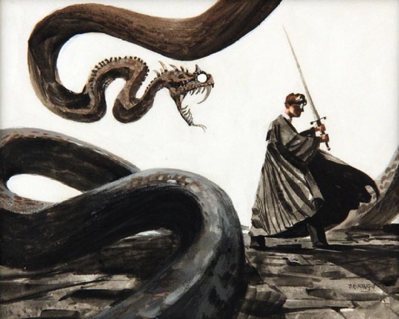 Harry Potter con spada contro il Basilisco
