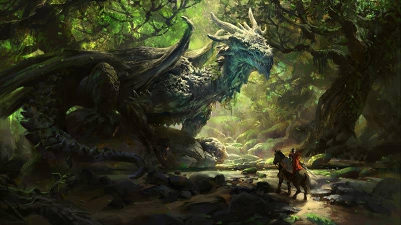Drago verde nella foresta