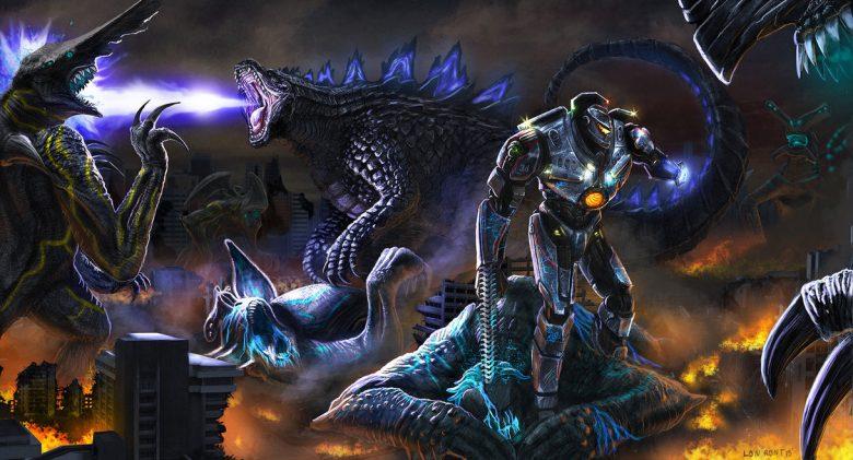 Godzilla contro i Kaiju di Pacific Rim fan art