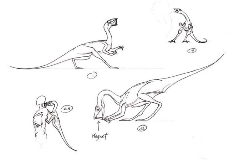 JP 2 bozzetti del Compsognathus