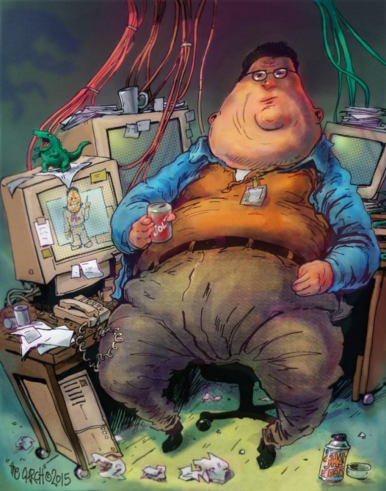 Caricatura Dennis Nedry