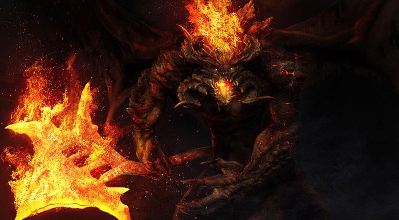 Signore degli anelli balrog di fuoco