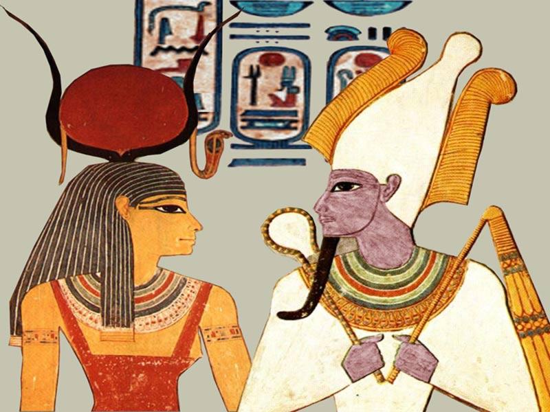 Osiride e Iside pitture egizi