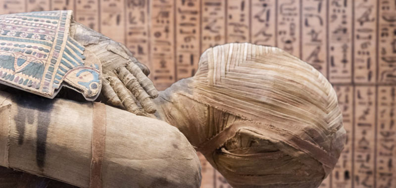 Mummia bendata tomba egizia