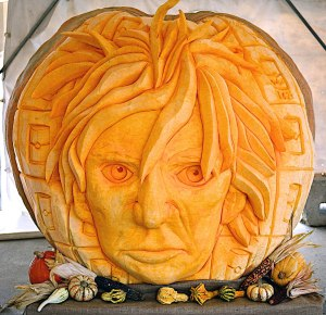 Massive 3D pumpkin carving artwork with incredible detail