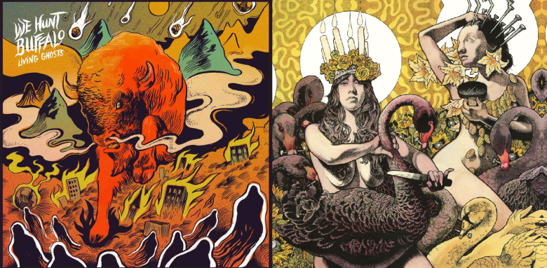 We Hunt Buffalo's Living Ghosts and Baroness's Yellow & Green Album Covers