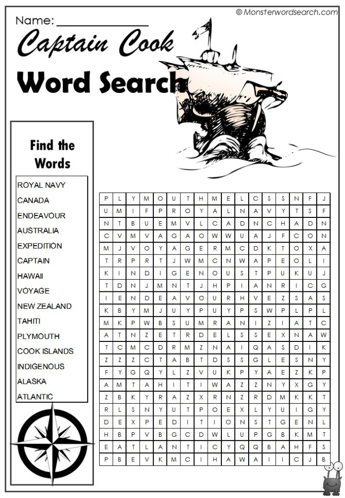 Captain Cook Word Search- Monster Word Search