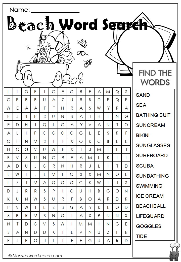 Beach Word Search- Monster Word Search