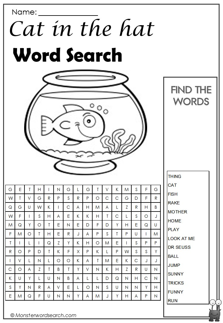 Cat in the Hat Word Search