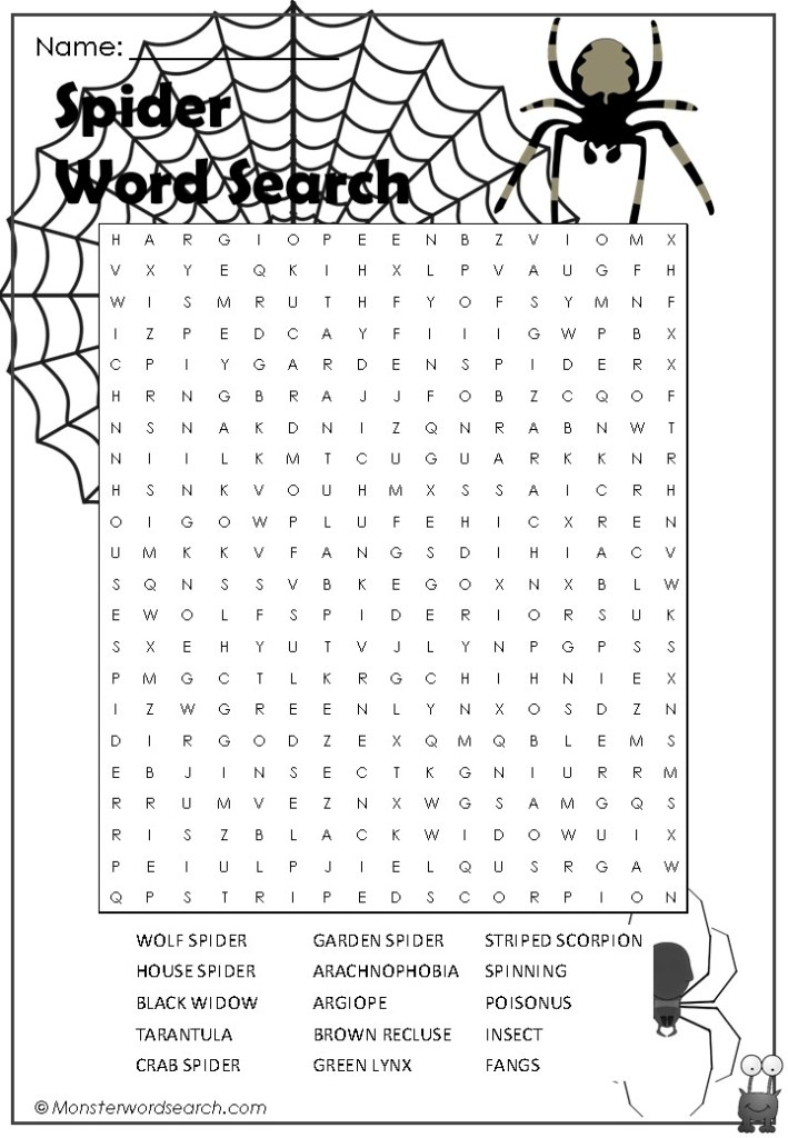 Spider Word Search on My Five Senses