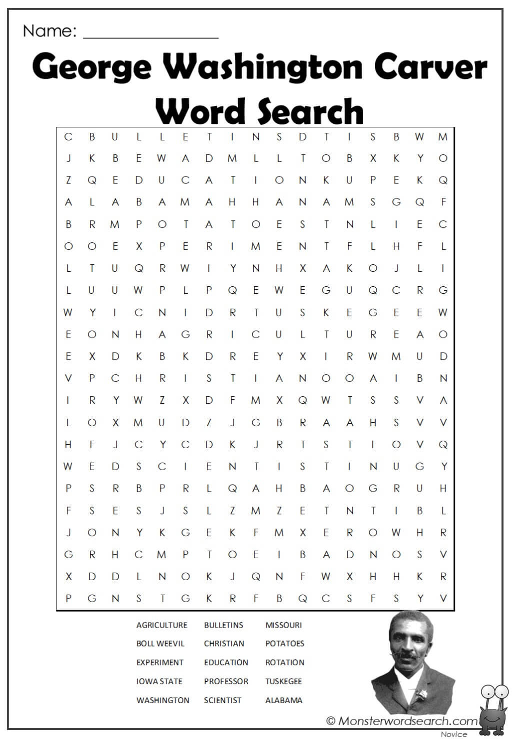 George Washington Carver Word Search 1