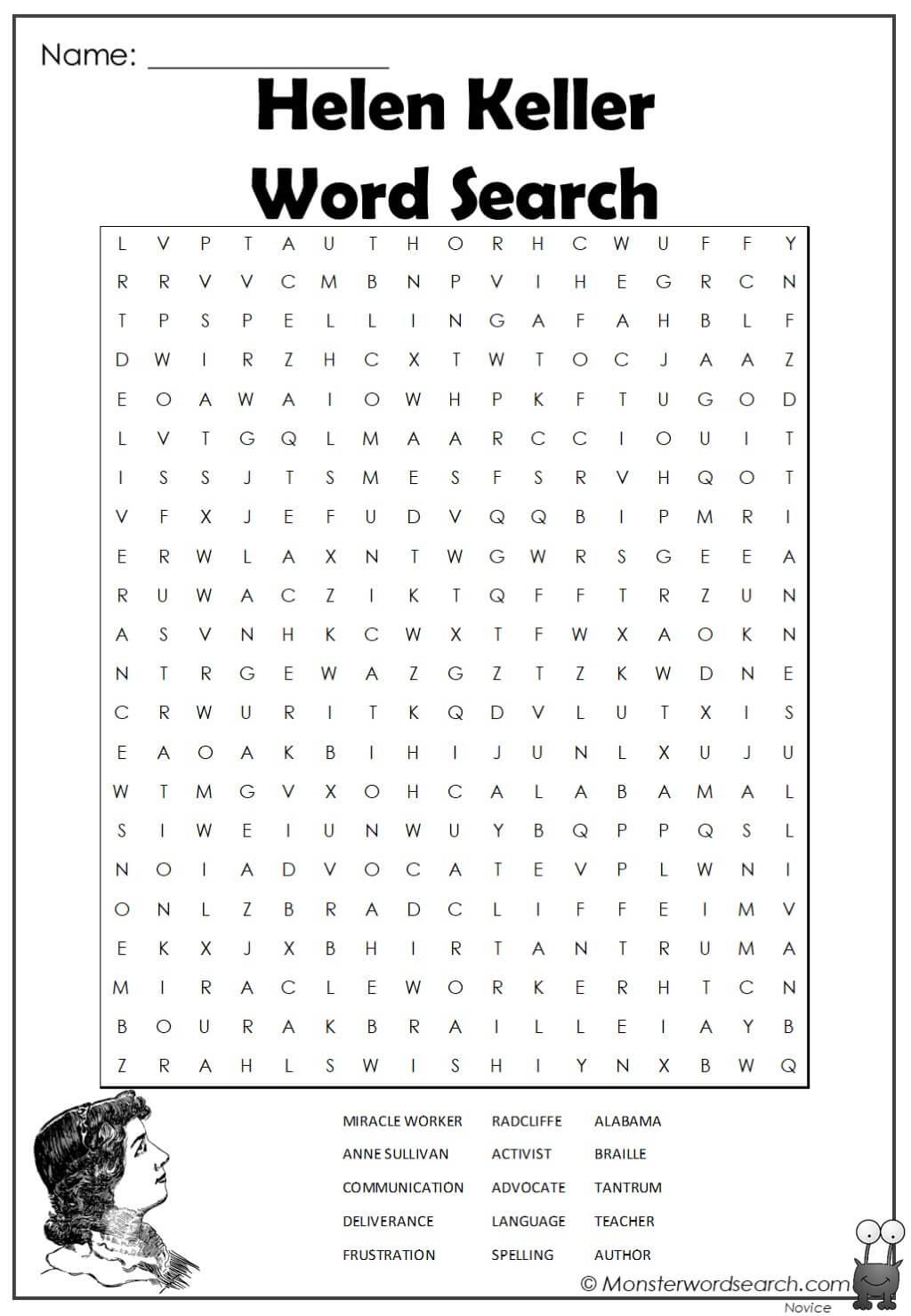 Helen Keller Word Search Monster Word Search