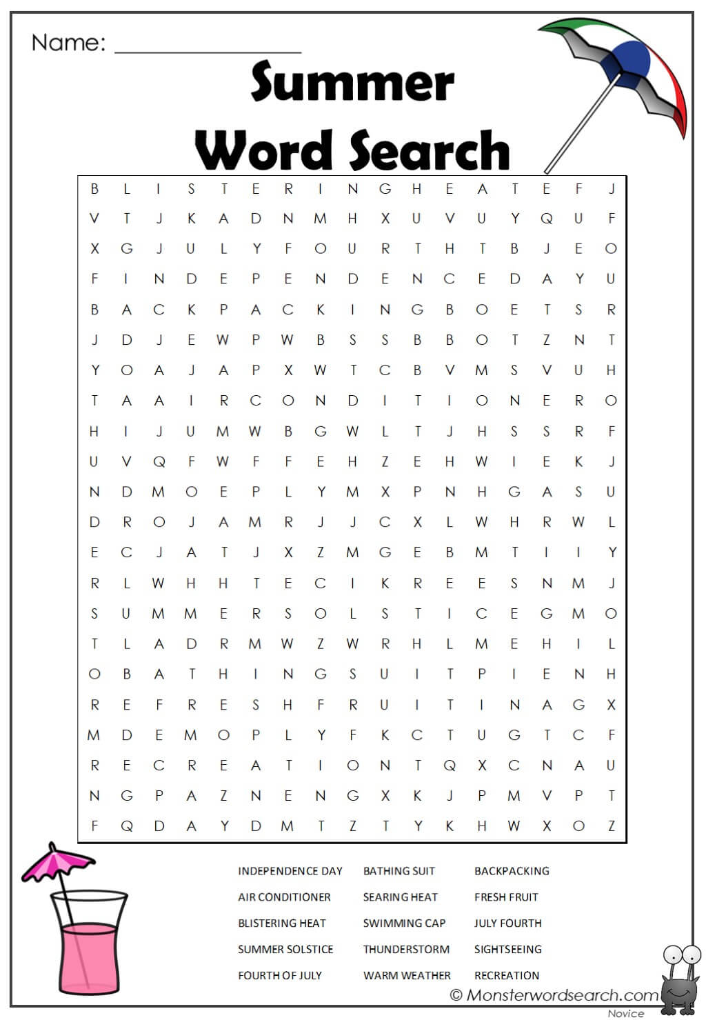 Summer Word Search Monster Word Search