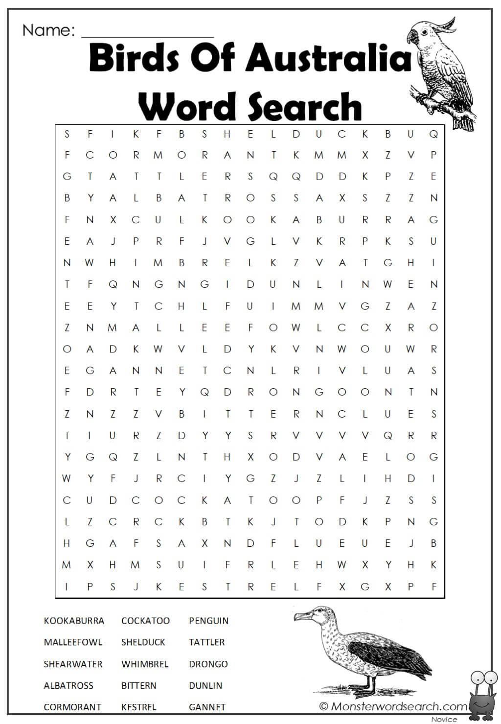 Birds Of Australia Word Search 1