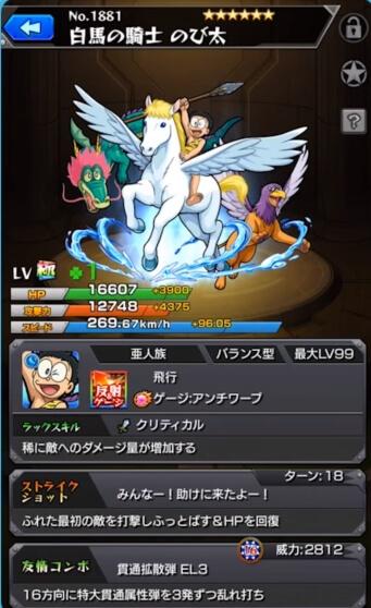 白馬の騎士のび太_ステータス