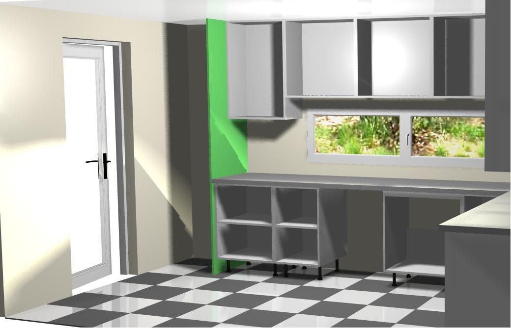 montando muebles altos de la izquierda a la cocina