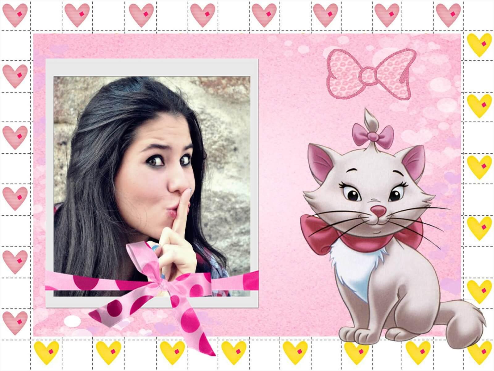 Montagem de fotos  infantil  Convite moldura rosa da gatinha Marie